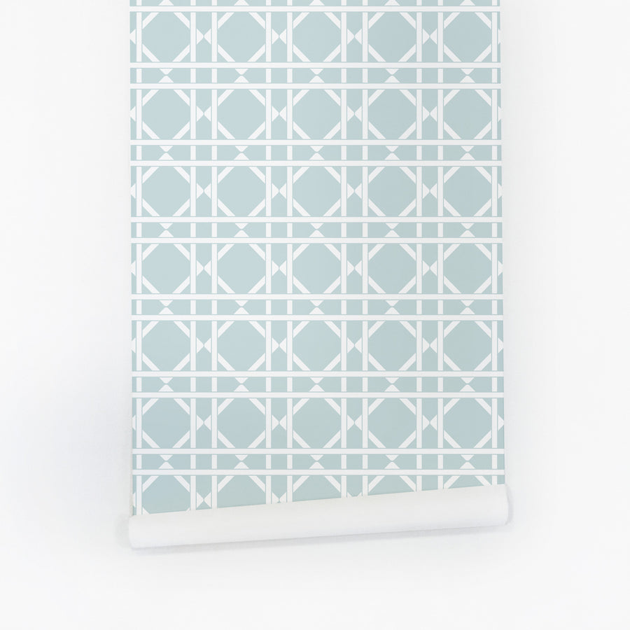 Light blue rattan cane pattern removable wallpaper