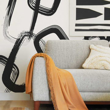 Oversized abstract chain design removable wallpaper wall mural in modern mid century living room
