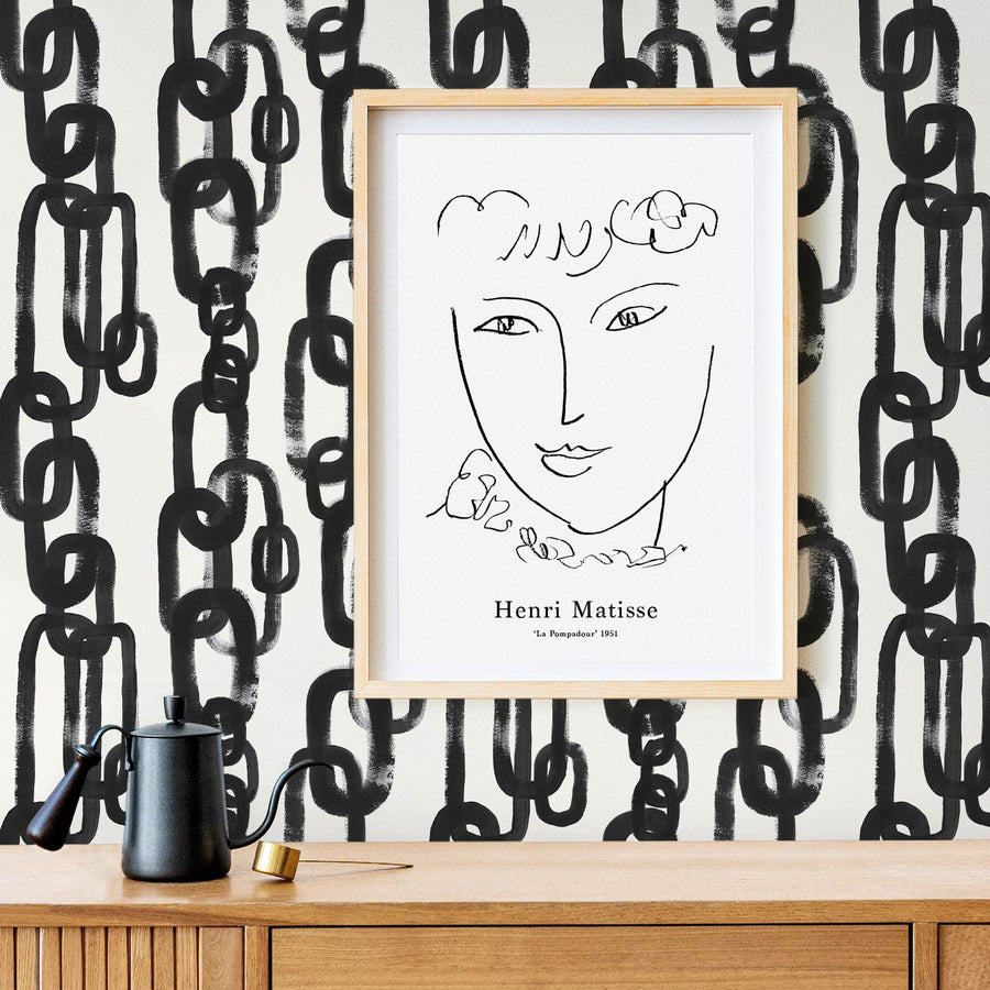 Mid century modern interior setting with chain design removable wallpaper and wall art print in wooden frame