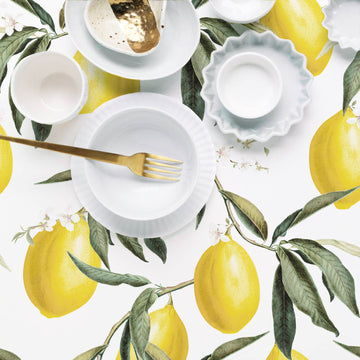 Lemons removable wallpaper for modern white kitchen interior