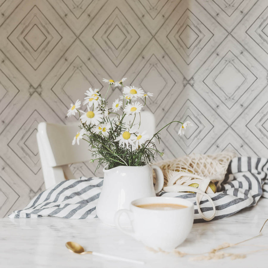 White planks removable wall mural wallpaper