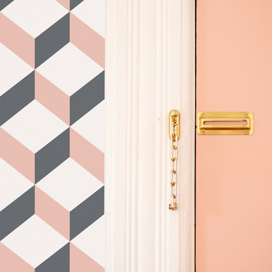 Modern cube design removable wallpaper in pink and grey colors for eclectic boho style entryway interior