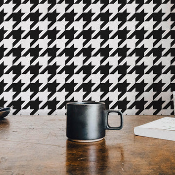 Classic houndstooth removable wallpaper