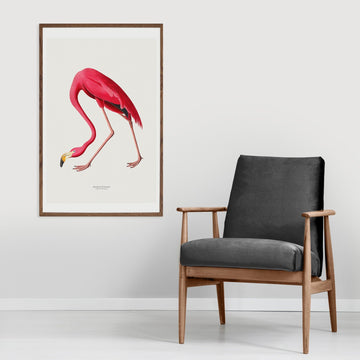 Pink flamingo painted print