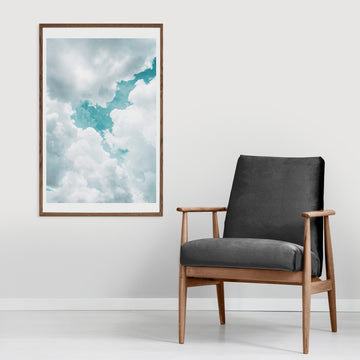 Turquoise blue sky poster