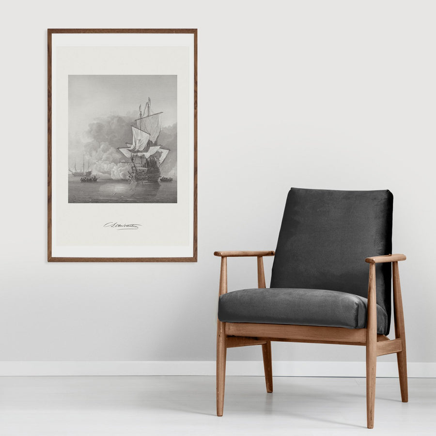 Wall poster with antique ship illustration