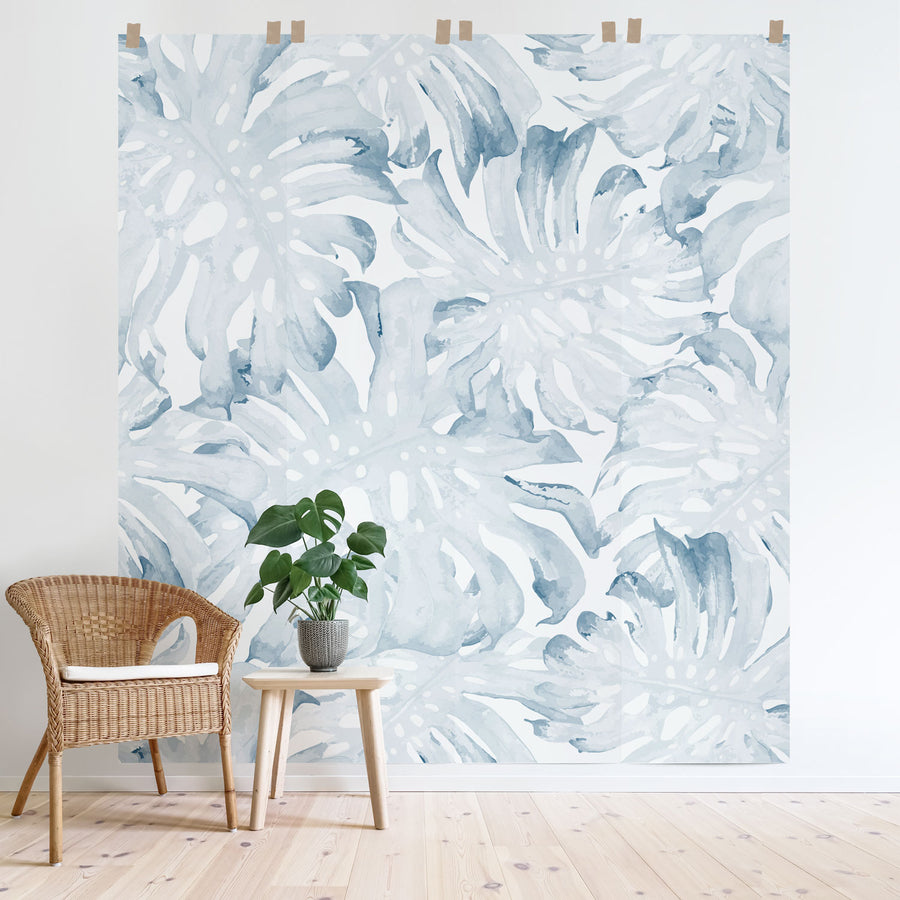 Watercolor palm leaves wall mural in light blue colors