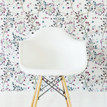 Colorful floral nursery removable wallpaper