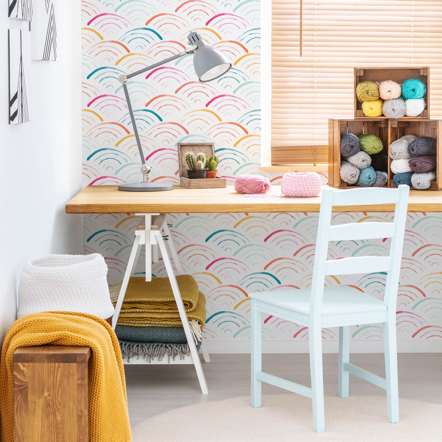 Colorful rainbow removable wallpaper for girls