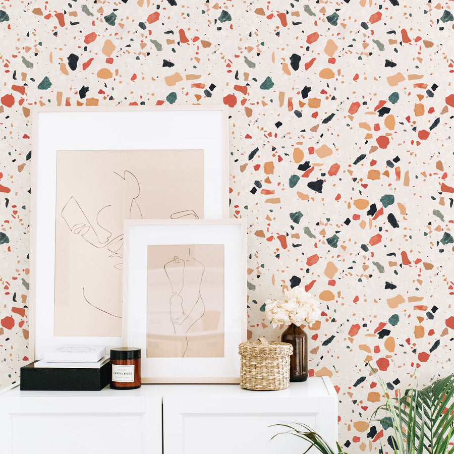 Colorful Terrazzo Pattern Removable Wallpaper