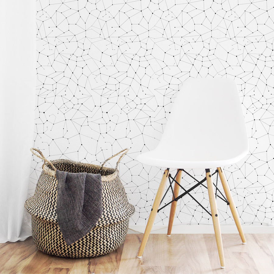 Nursery accent wall with constellation stars design wallpaper