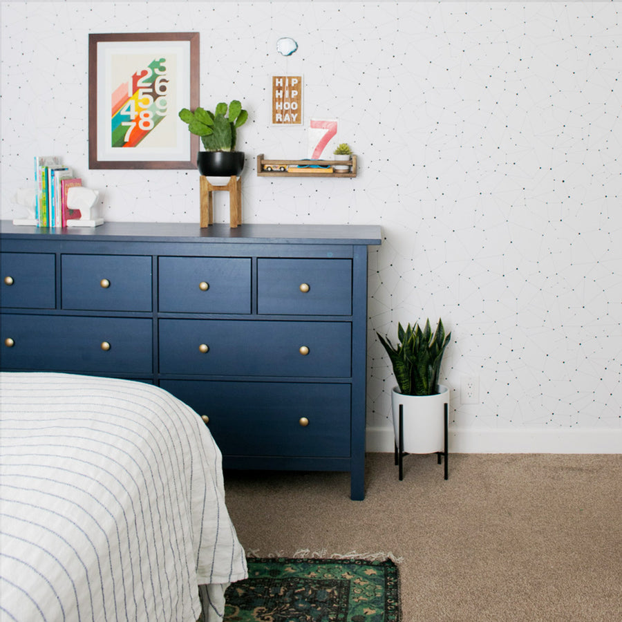Constellation pattern kids room wallpaper