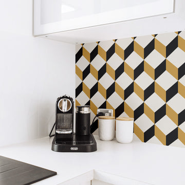 Yellow and black geometric tiles removable wallpaper in kitchen interior backsplash