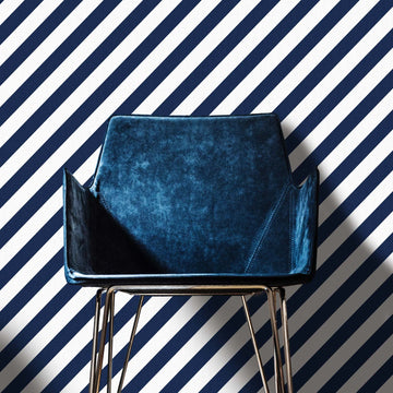 Dark blue diagonal lines removable wallpaper
