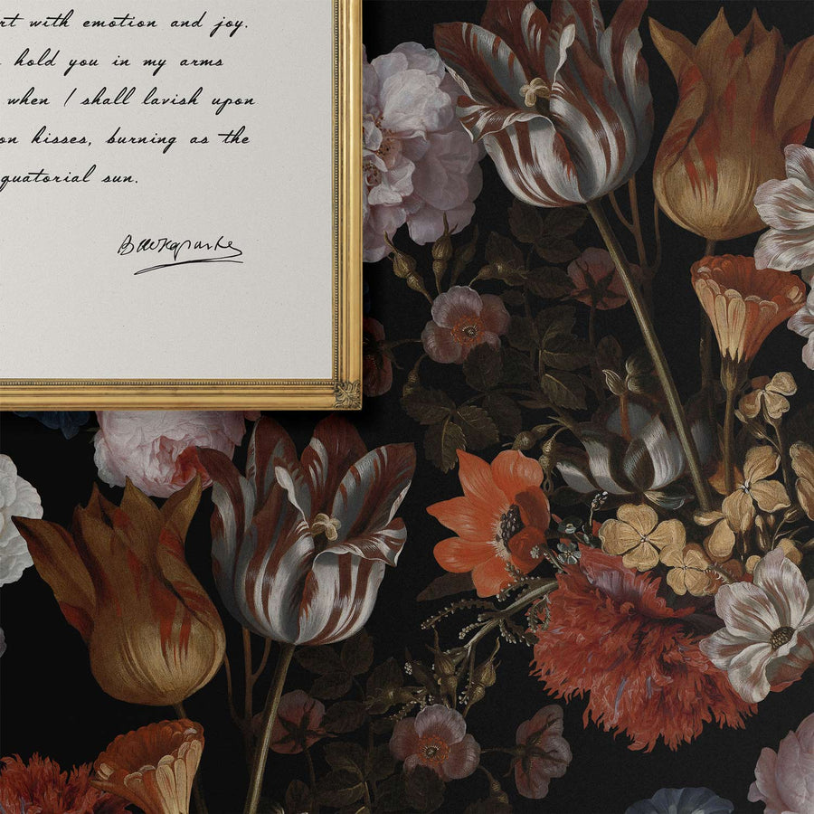 Dark Vintage Flower Bouquet removable wallpaper