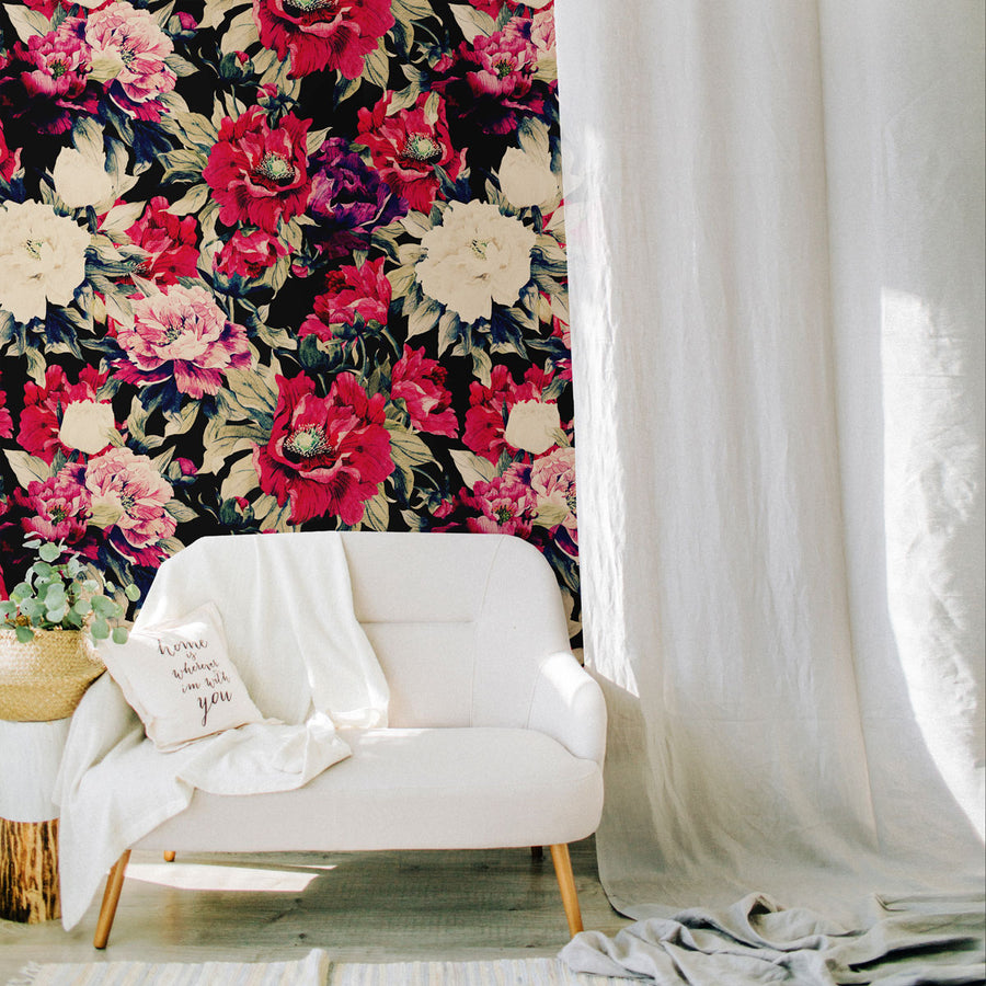 Moody peony removable wallpaper wall mural