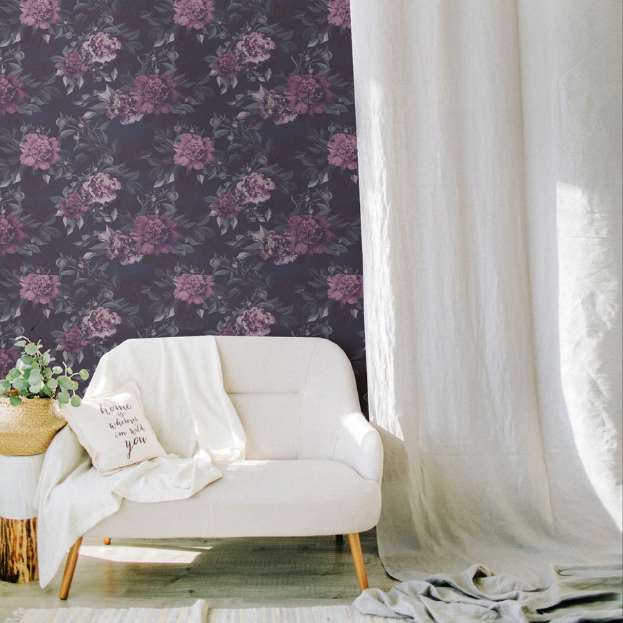 Dark peonies accent wall self-adhesive wallpaper