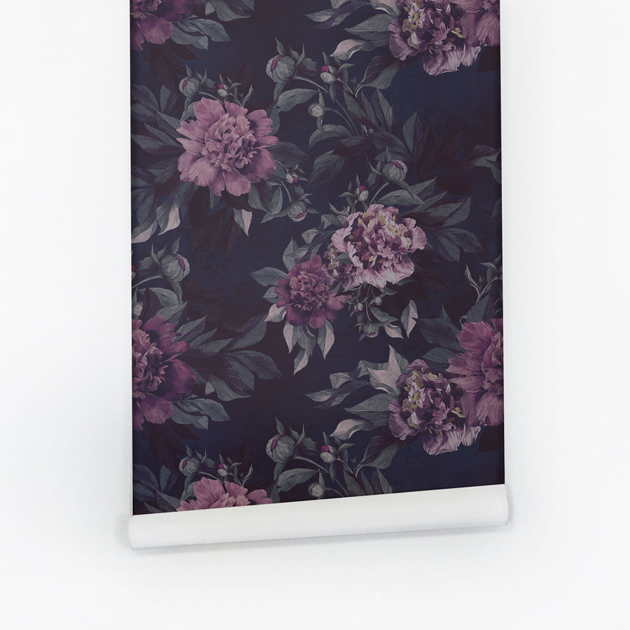 Dark Floral Removable Wallpaper In Purple Wall Mural Livettes