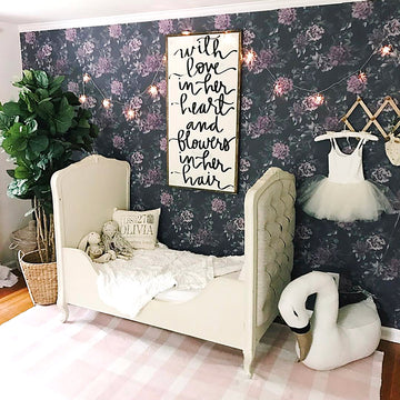 Nursery dark floral removable wallpaper