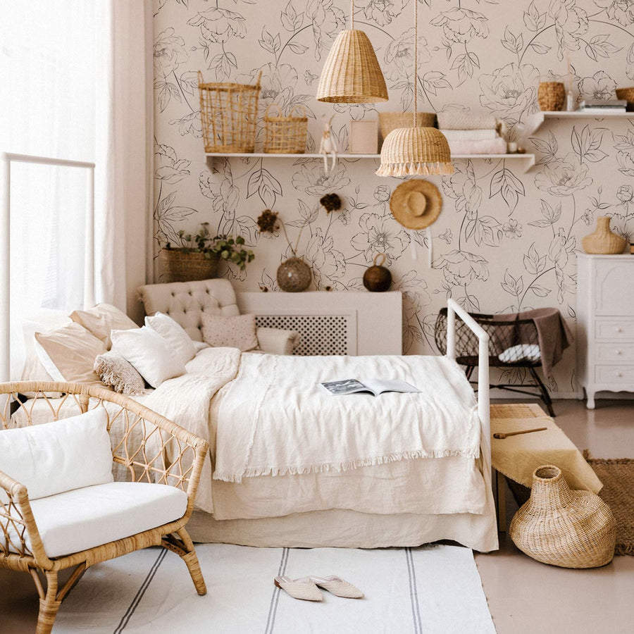 Delicate floral design removable wallpaper in bohemian bedroom interior