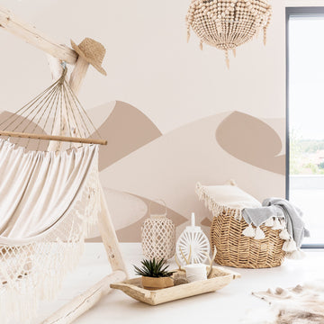 Beige dunes wall mural in bohemian bedroom