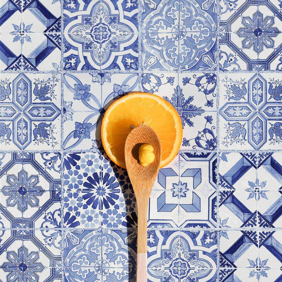 Light blue Moroccan tiles removable wallpaper