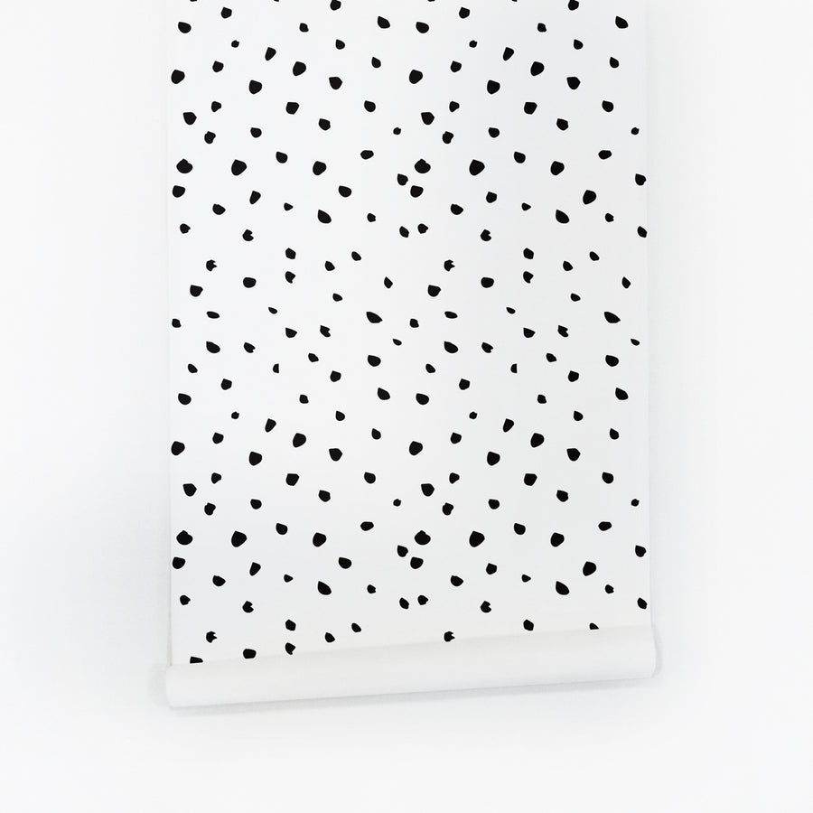 Black paint dot self adhesive wallpaper