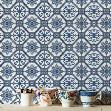 Blue watercolor tiles removable wallpaper