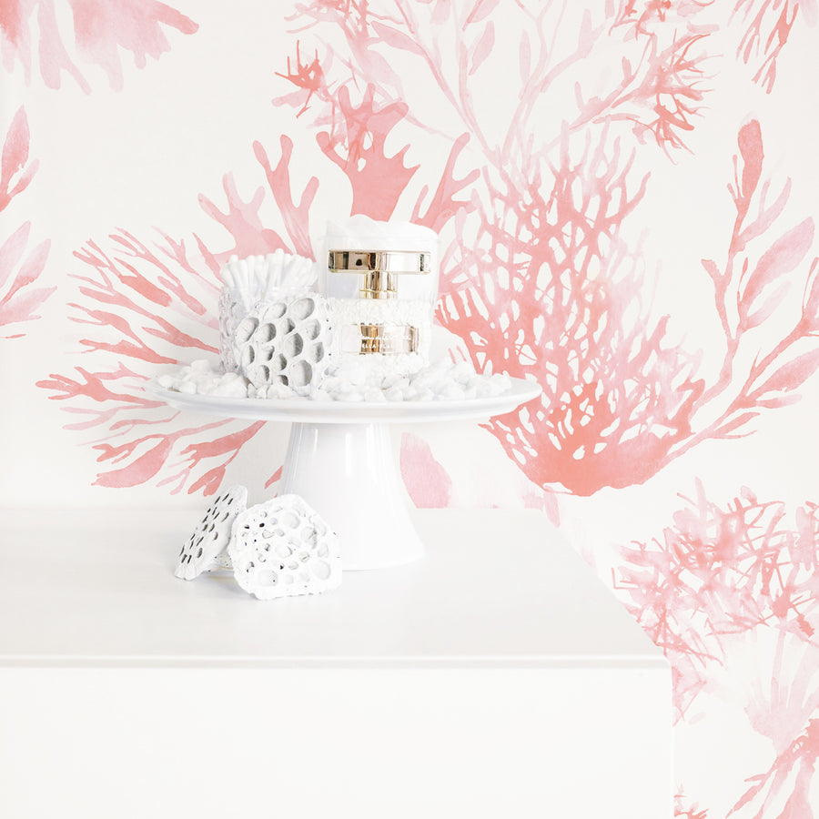 Watercolor coral removable wallpaper in blush pink color