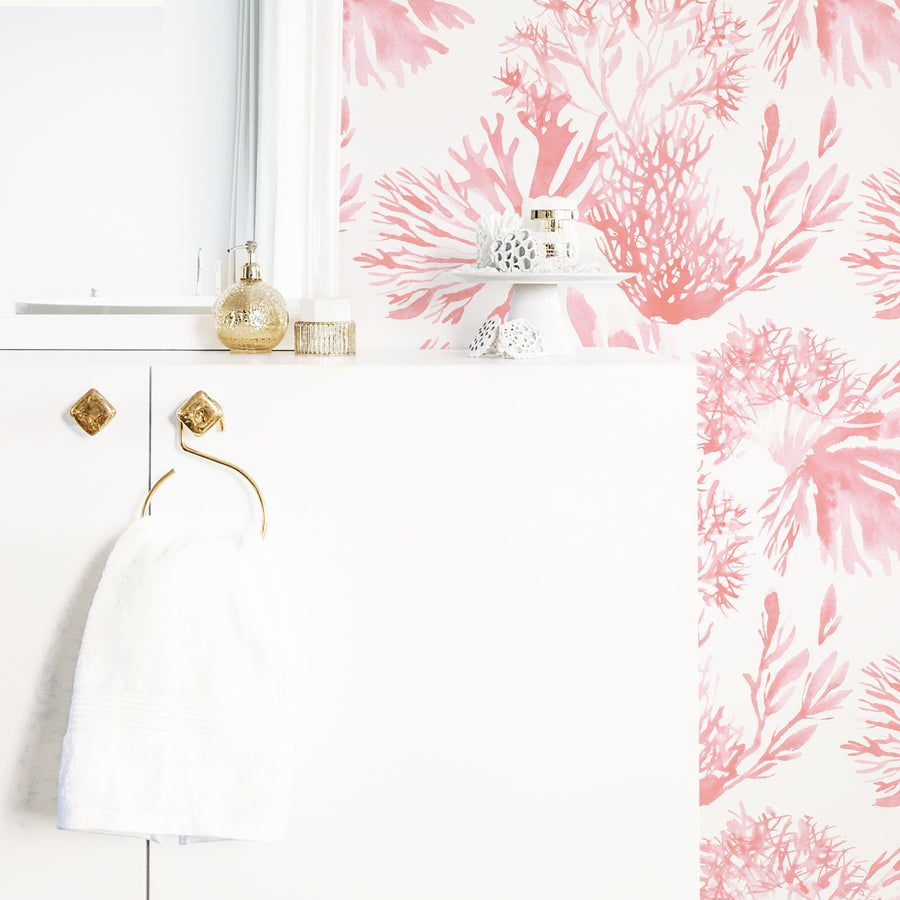 Coral removable wallpaper in elegant white and gold bathroom interior