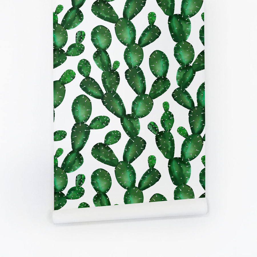 Green cactus self adhesive wallpaper accent wall