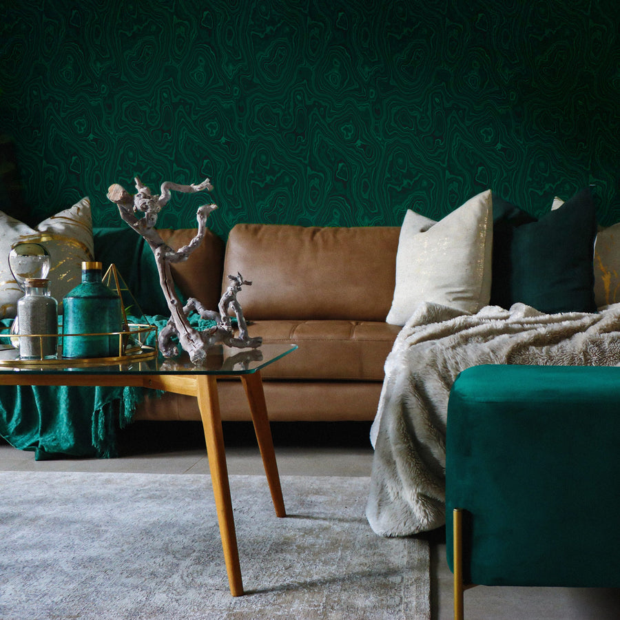 Emerald green malachite removable wallpaper