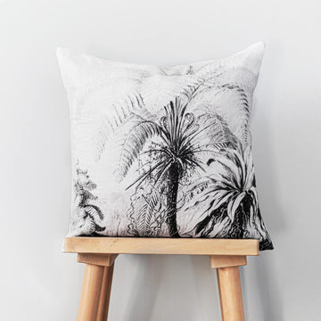 Monochrome jungle print washed linen cushion cover