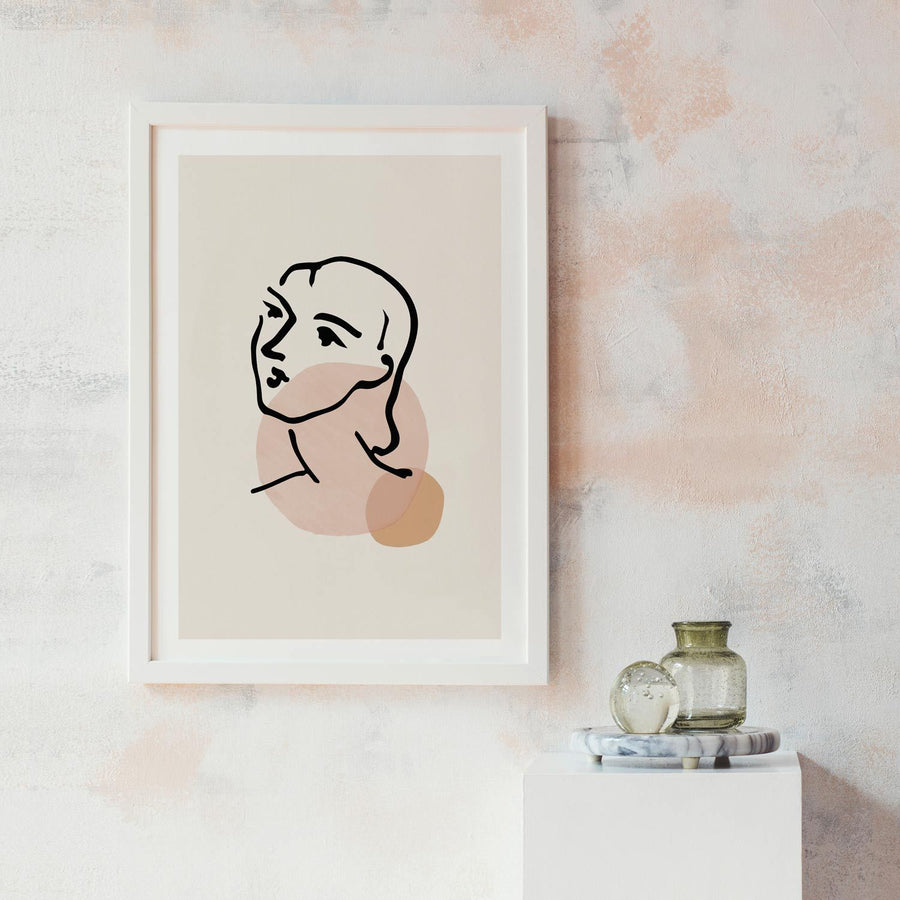 Woman face silhouette print