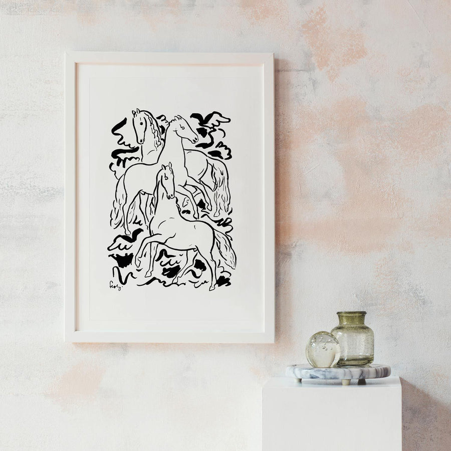 Wall decor poster with horses