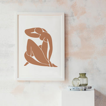Nude woman silhouette art print
