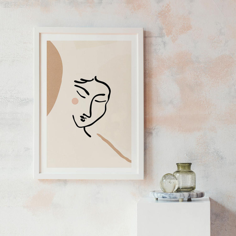 Feminine woman pale pink poster