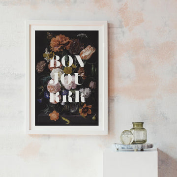 Dark floral wall poster