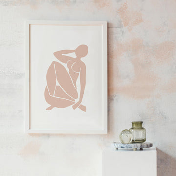 Abstract nude female figure print