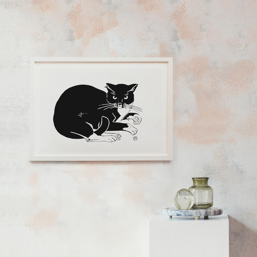 Illustration Print with black cat