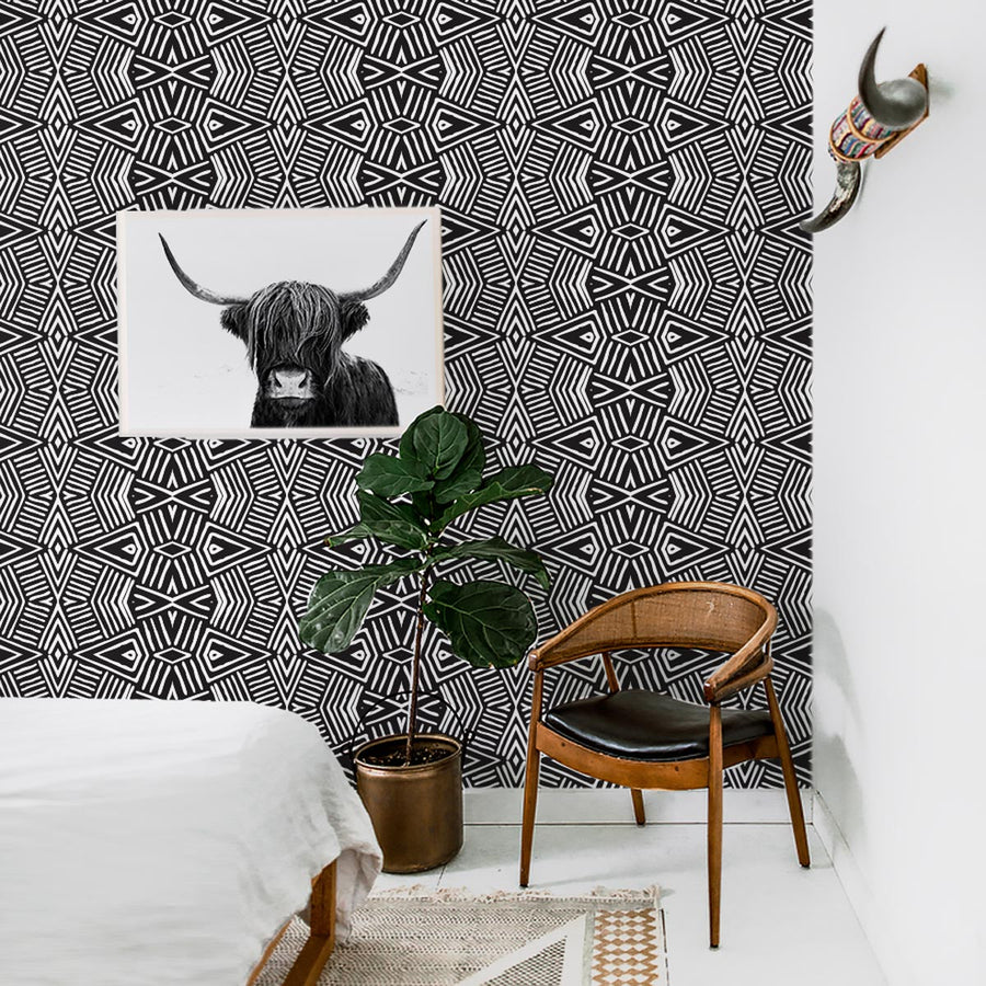 African Print Removable Wallpaper Traditional Wallpaper Livettes