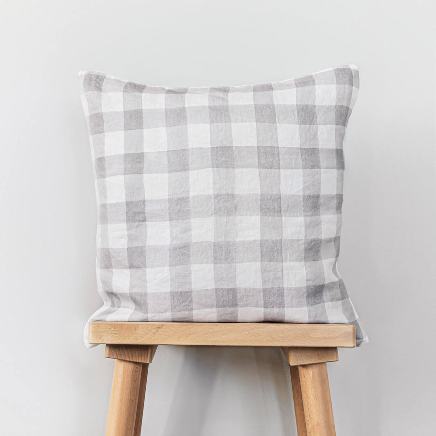 Grey plaid print washed linen pillow cover