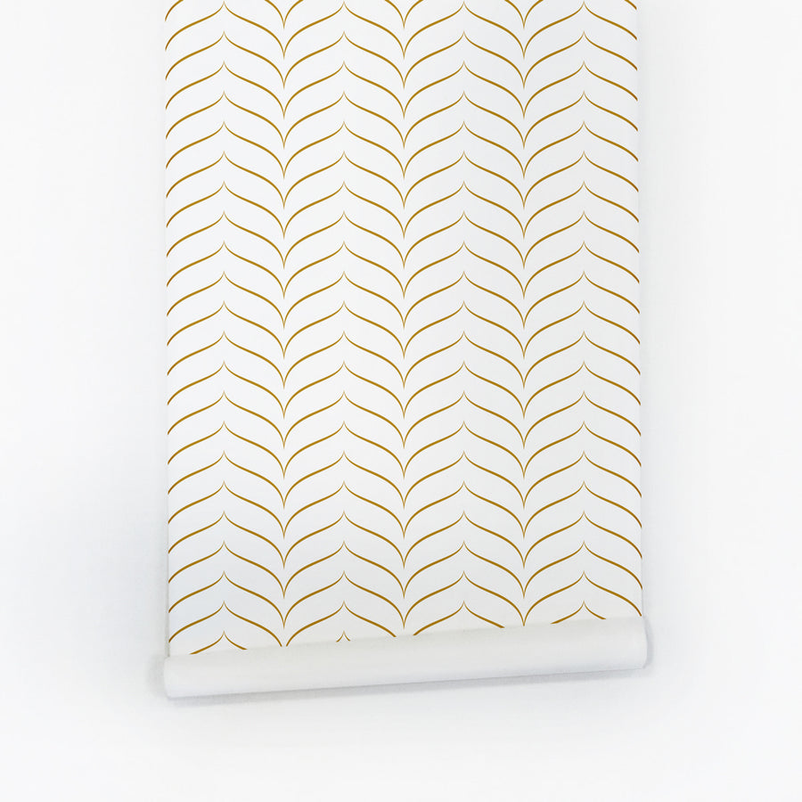 Faux Gold Chevron Print Removable Wallpaper Golden Lines Self Adhesive Repeated For Trendy Interior Design