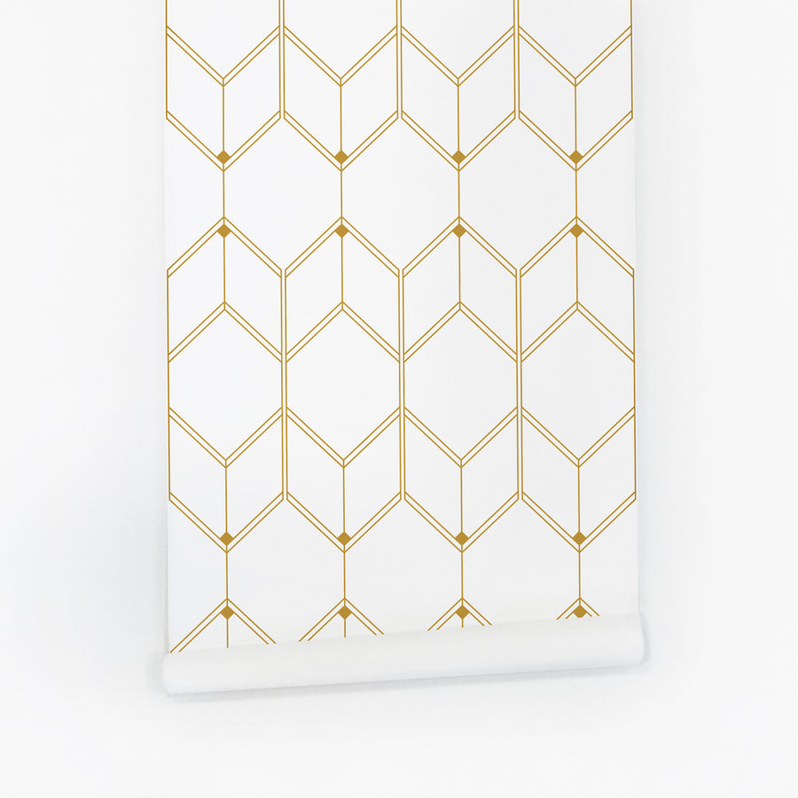 Faux gold removable wallpaper with geometric pattern