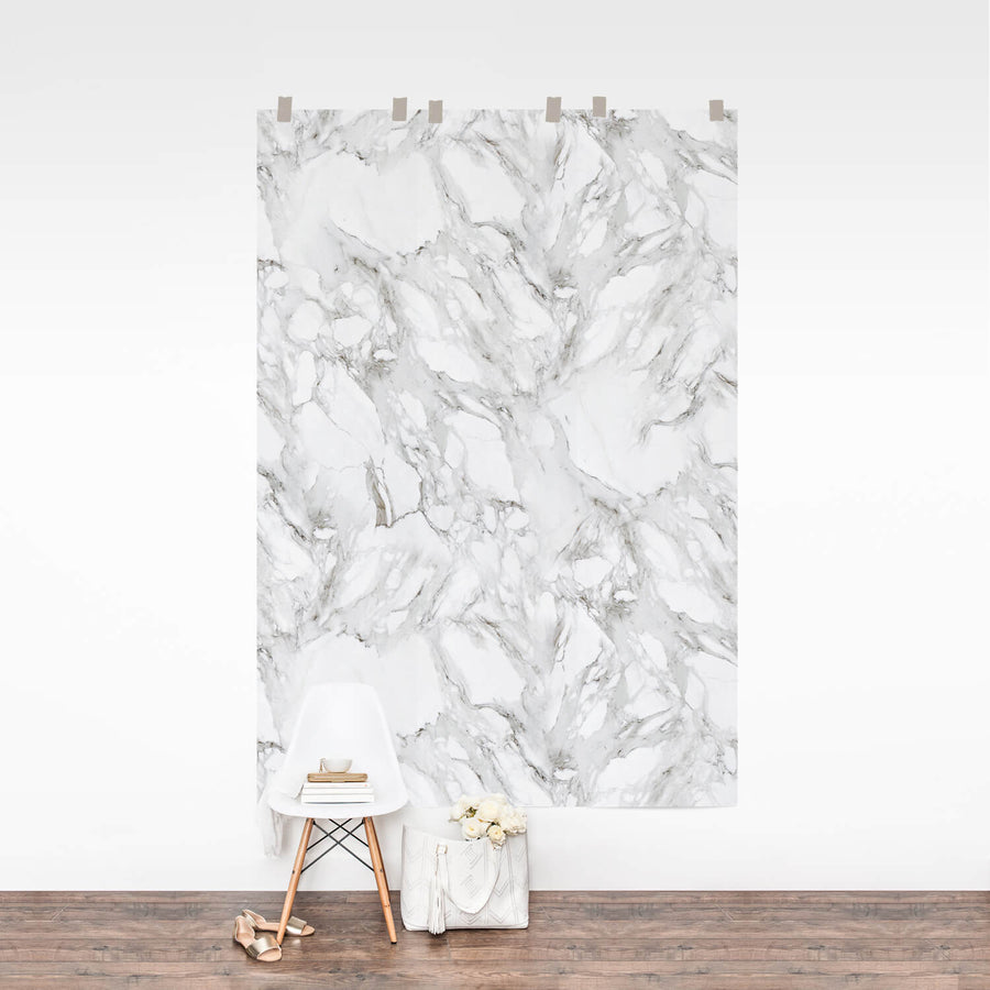 Repeating wall mural with white marble pattern