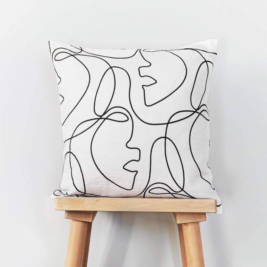 Minimal Femme art print washed linen cushion cover
