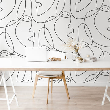 Contemporary feminine art removable wallpaper