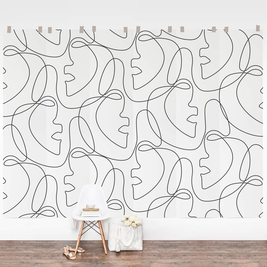 Modern design line face wall mural in removable wallpaper material