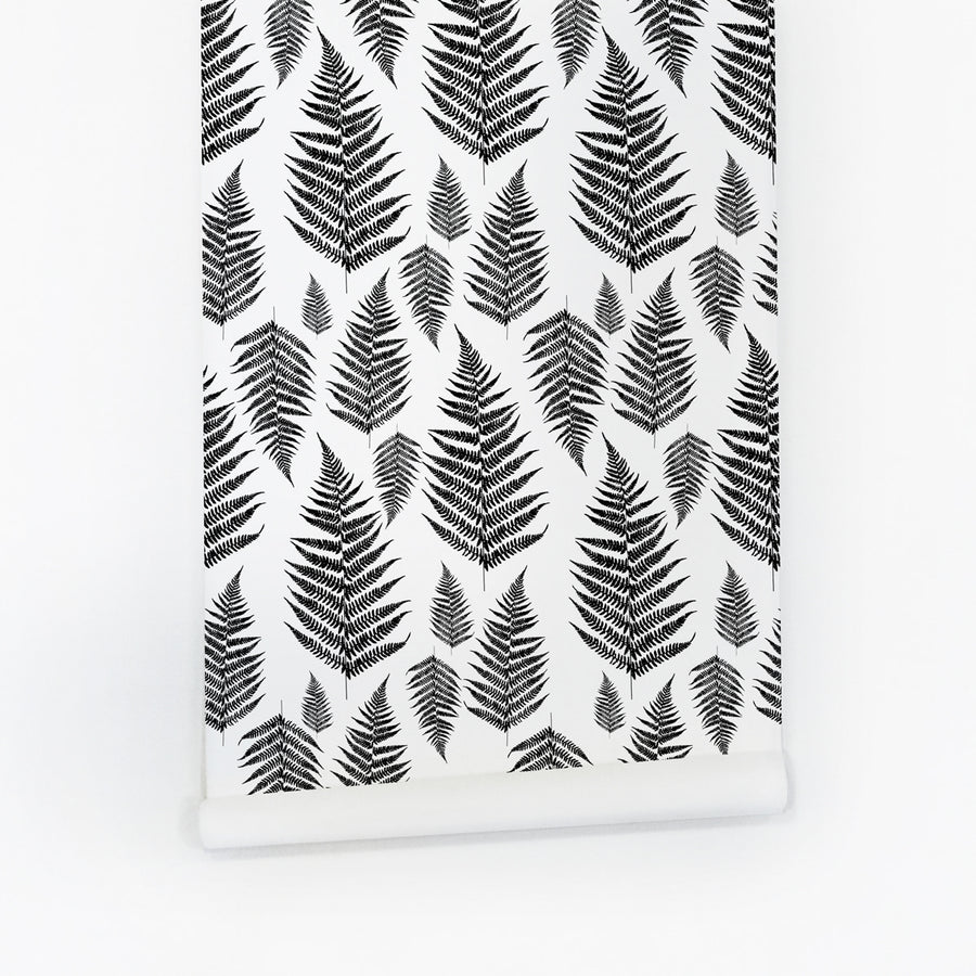 Botanical fern leaves self adhesive wallpaper in black