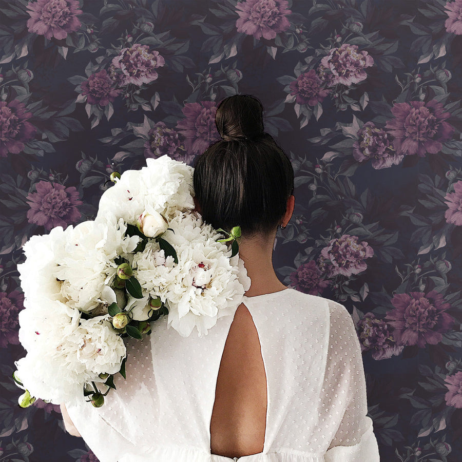 Dark floral peonies removable wallpaper